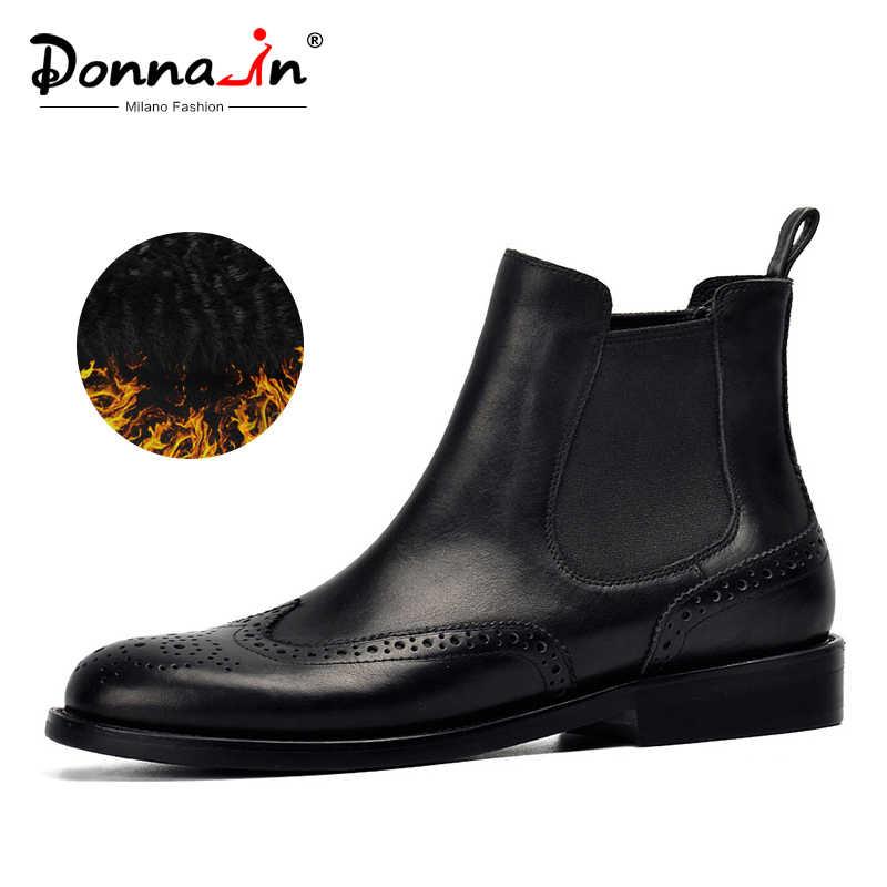 Donna-in/женские ботинки из натуральной кожи; ботильоны с перфорацией типа «броги»; модные женские ботинки «Челси» на низком каблуке; сезон осень; коллекция 2019 года; женская обувь