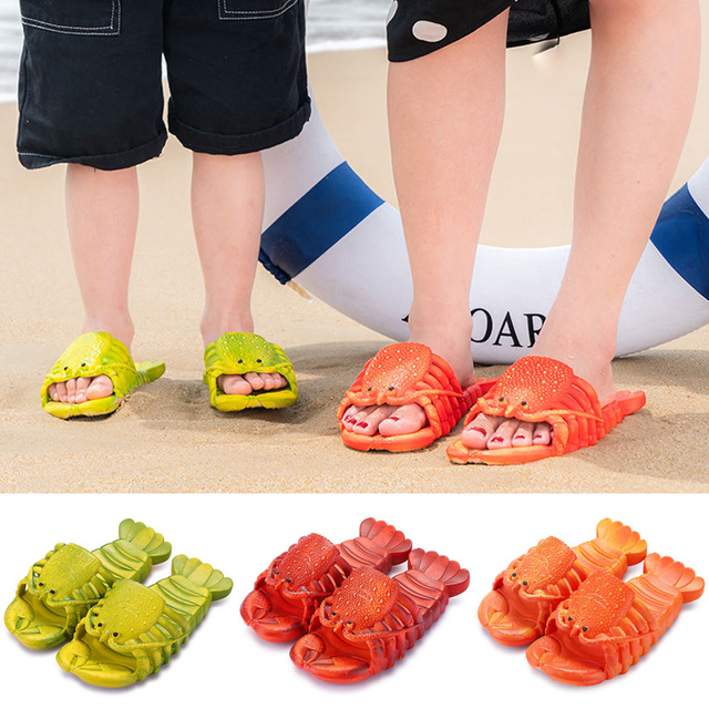 NEW Boys Girls Flip Flops Summer Beach Slippers Shoes Kids Bathroom Slippers Kids Funny Lobster Slippers Kids Home Slippers D30