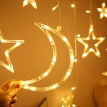 LED de Luna estrella Cadena de luz LED EID Mubarak Decoración de Ramadán Kareem decoración musulmán islámico fiesta Ramadán y Eid Al Adha