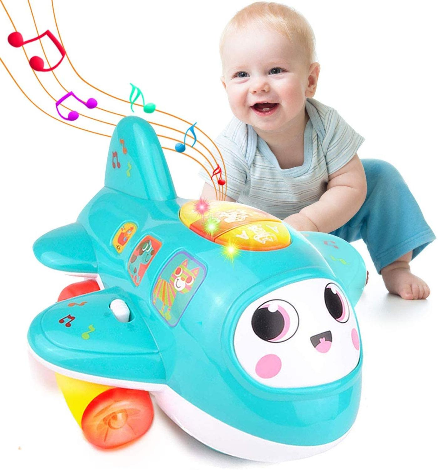 HISTOYE Baby Plane Toys For 1 Year Old Electronic Musical Airplane Toy For Toddlers Early Learning Educational Toys For Kids