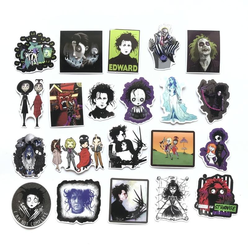 10 25 pcs Tim Burton Films Stickers Corpse Bride Beetlejuice Scissorhands Decal