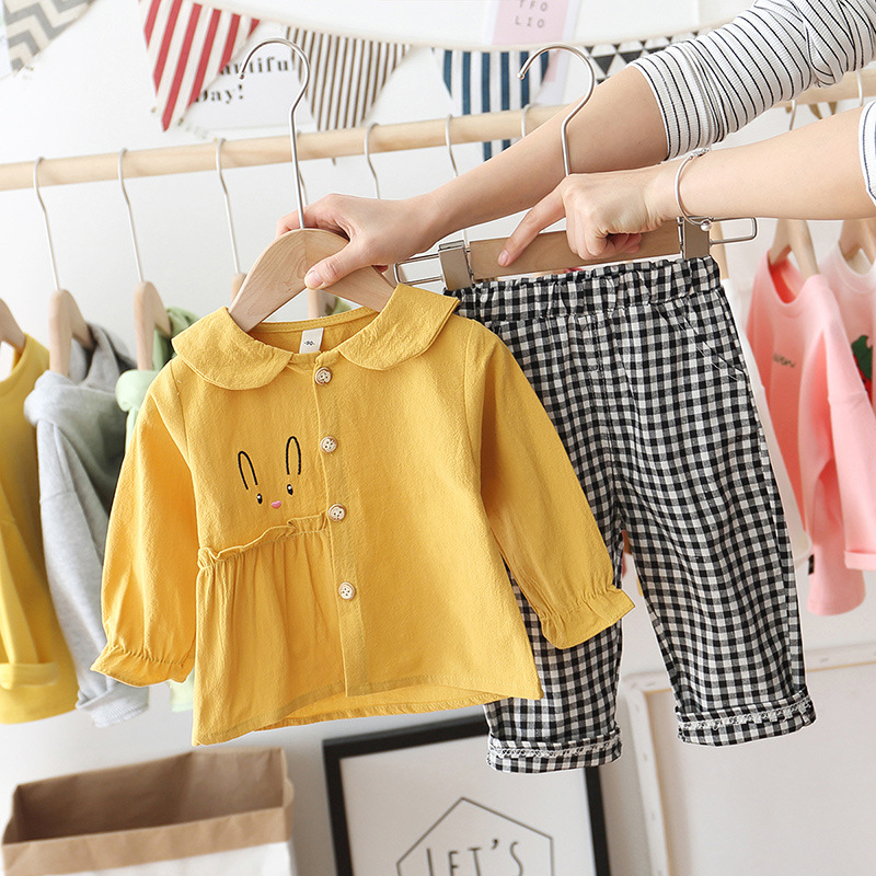 Baby Girl Cotton Sweet Suits Spring Baby Girl Trendy Clothes 2pcs Sets Shirt+lattice Pants Kids Baby Girl Cloths Kids