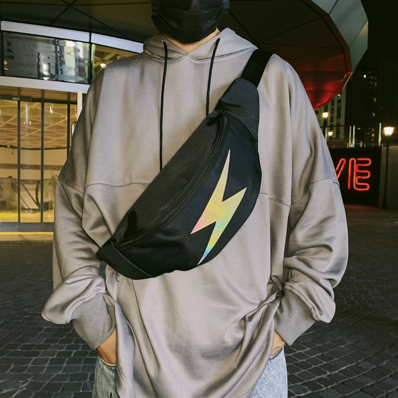 Men Canvas Chest Bag Unisex Casual Waist Bag Reflective Hip Hop Fanny Pack Boy Waterproof Waist Bag For Men Street Style Male