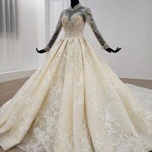 Image 3 - HTL1094 אלגנטי חתונת שמלות לבנון גבוהה צוואר מלא שרוול כדור שמלת אפליקציות תחרת הכלה שמלת שמלת ארוך רכבת gelinlikler