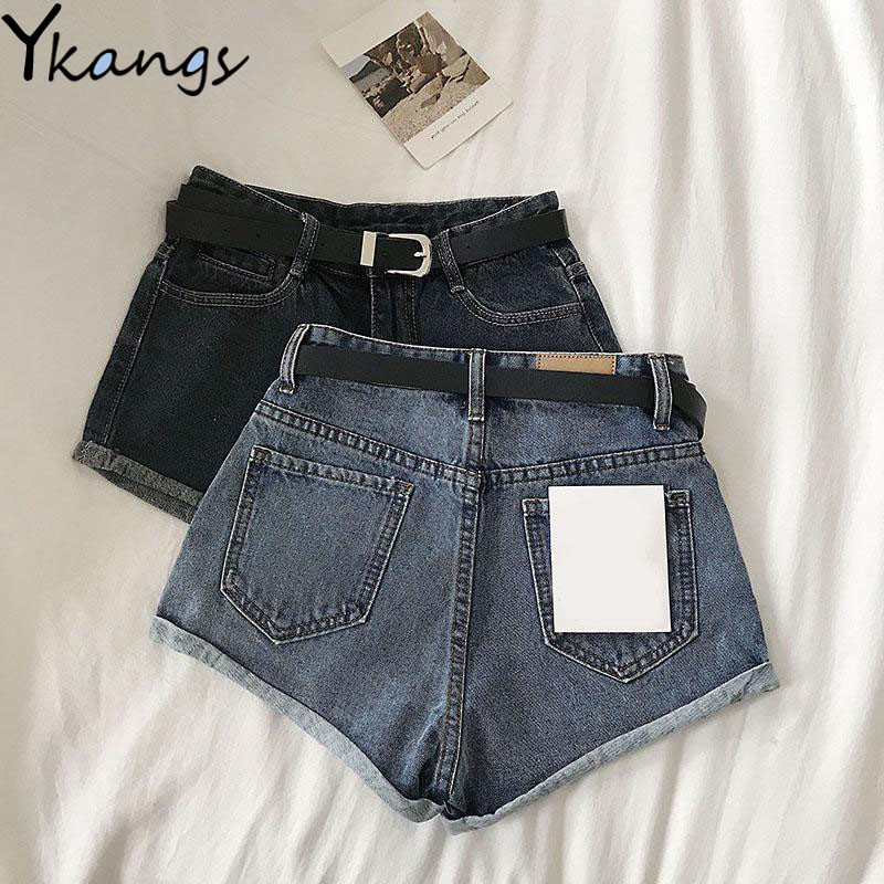 Vintage Basis Wild Denim Shorts Women Wide Leg High Waist Mom Jeans Female Sexy 2020 Summer Clothes Hot Jean Shorts Streetwear