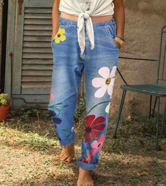 Women Jeans Plus Size Pants Women's Printed Denim Trousers 3 Colors Women's Clothing Jeans 2020 NEW Print Panties