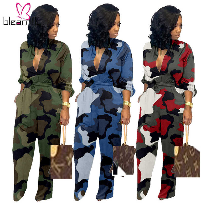 Camouflage Print Long Sleeve Rompers Women Jumpsuit Military Wide Leg Casual Playsuit One Piece Elegant Overall Autumn Plus Size