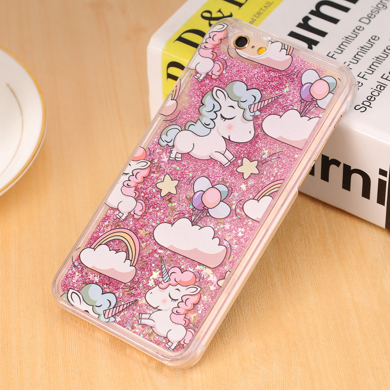 Για iPhone 4 4s 5 5s 5c 6 6s 7 Plus Case Cover Lovely Unicorn Dynamic Liquid Bling Star Hard PC Θήκες τηλεφώνου Capa Fundas