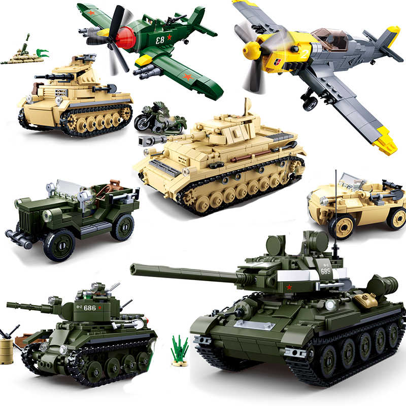 Military weapon compatible legoing ww2 tank T34 airplane aircraft world war 2 truck army car soldiers building blocks  kids toys
