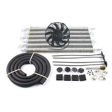 "6 Row Radiator Remote Transmission Oil Cooler Aluminum With 7"" Cooling Fan w/ Kit"