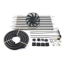 """Enfriador de aceite de transmisión remoto de radiador de 6 filas de aluminio con ventilador de refrigeración de 7 """"con Kit"""
