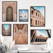 цена Morocco Door Mosque Church Landscape Wall Art Canvas Painting Nordic Posters And Prints Wall Pictures For Living Room Home Decor