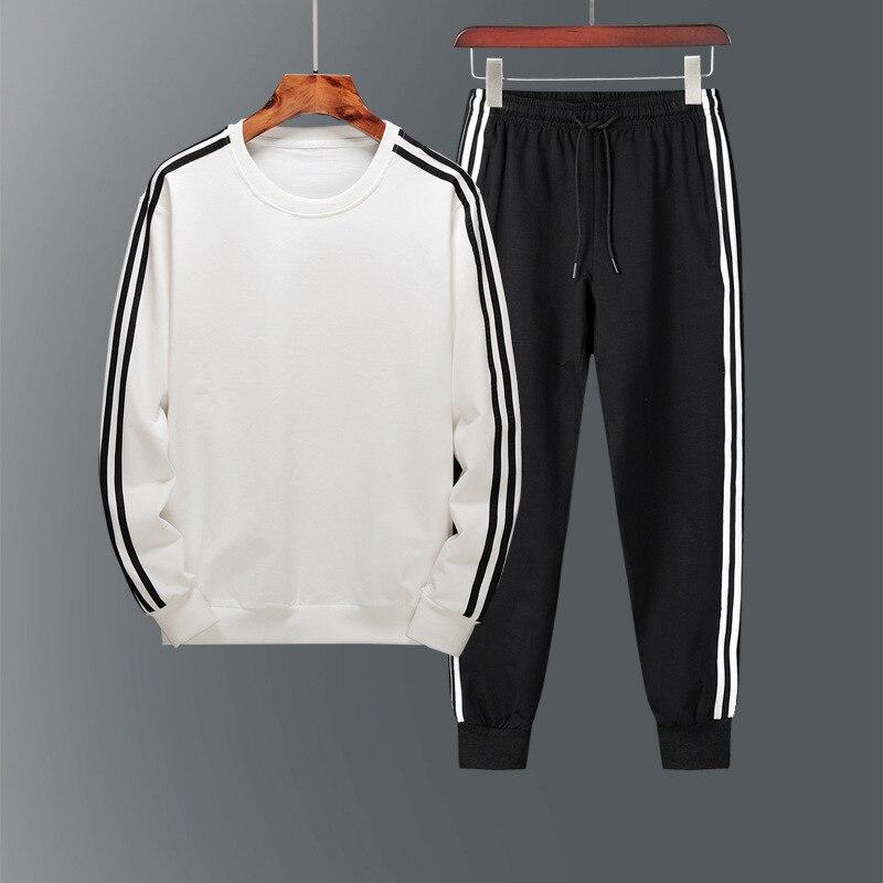Pure Cotton Couples Sports Clothing Set Men's Three Bars MEN'S Sport Suit Men's Spring And Autumn Sports Set Men's Autumn Women'