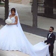 Sexy Ball bridal Gown Deep V neck 2018 Romantic Lace Long Back Brides vestido de