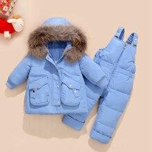 冬の子供服セット雪のスーツジャケット + ジャンプスーツ2本セットベビー少年少女アヒルダウンコート幼児ガール冬服