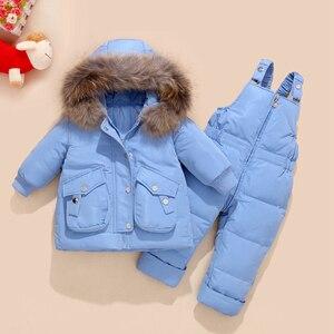 Image 1 - 冬の子供服セット雪のスーツジャケット + ジャンプスーツ2本セットベビー少年少女アヒルダウンコート幼児ガール冬服