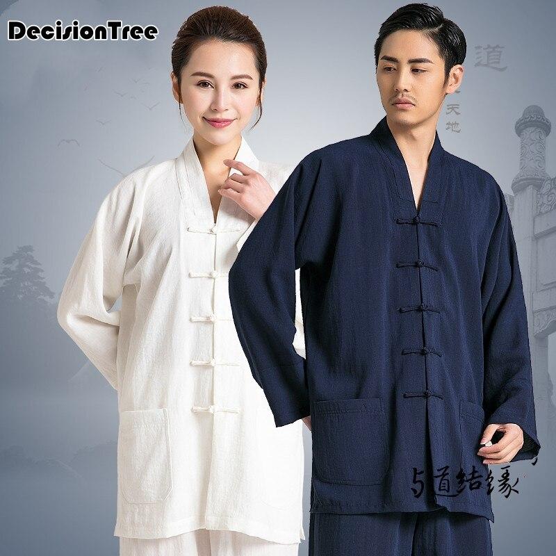 2019 Martial Arts Wushu Clothing Suit For Men And Women Jiu Jitsu Wushu Kung Fu Uniform Tai Chi Suit V Neck Loose Elegant KungFu