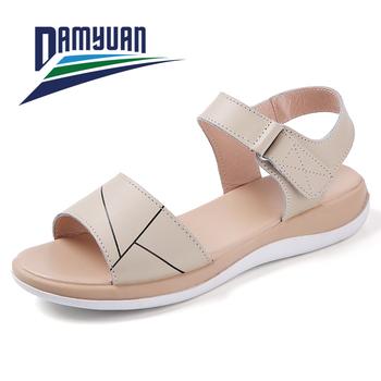 Letnie sandały damskie damskie miękkie i wygodne sandały sandały na płaskim obcasie z wystającym palcem buty na plażę buty damskie sandały dla kobiet tanie i dobre opinie damyuan CN (pochodzenie) RUBBER Med (3 cm-5 cm) 0-3 cm Dobrze pasuje do rozmiaru wybierz swój normalny rozmiar sandals for women