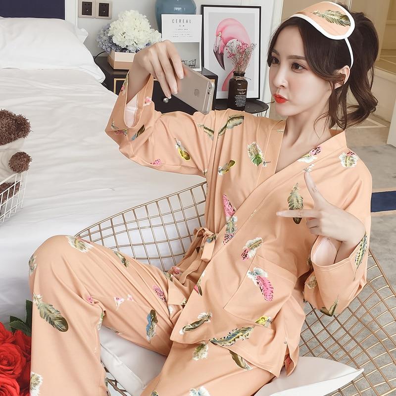 [According Feminine] 648 # Feather Kimono Long Sleeve Qmilch WOMEN'S Pajamas M -Xl