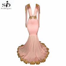 Womens Black Long Sleeves Pink Prom Dress Gold Lace Appliques Mermaid Evening Formal abendkleider 2019