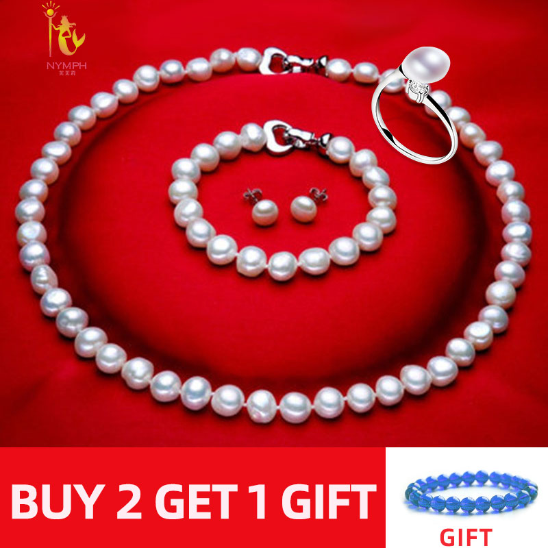 NYMPH FreshWater Pearl Jewelry Set For Women Natural Baroque White Stone Beads Choker Necklace Earrings Bracelet NYMPH FreshWater Pearl Jewelry Set For Women Natural Baroque White Stone Beads Choker Necklace Earrings Bracelet Party [T207]