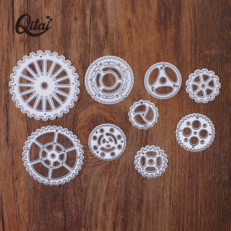QITAI 2020 Low Price  9pcs Gear Set Metal Steel Embossing Cutting Dies Craft Dies Scrapbooking DIY Card Making Photo Decor MD350