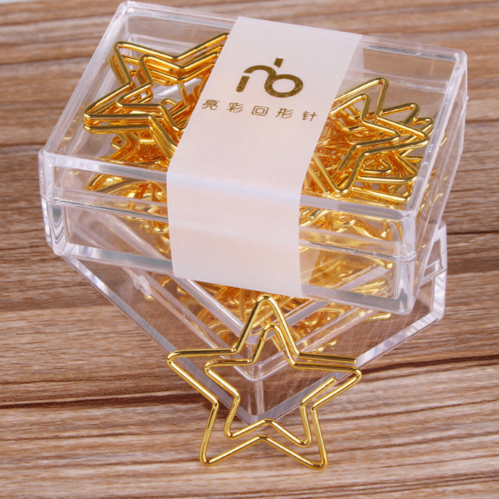 12 Pcs/box Gold Five Pointed Star Paper Clips Metal Bookmark Note Memo Clip Student Office Stationery Supply