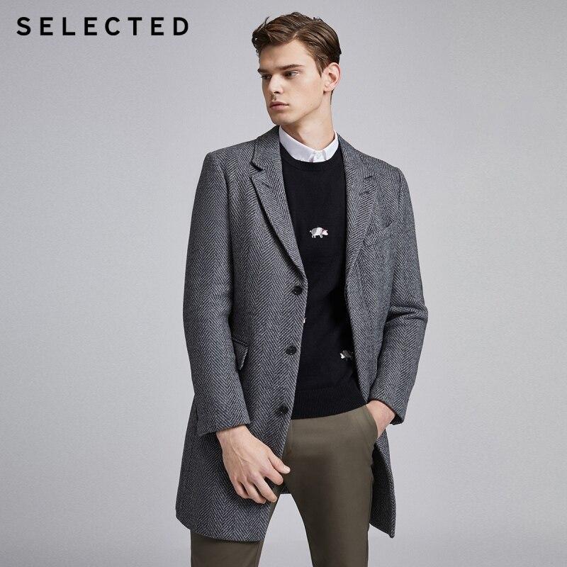 SELECTED Men's Winter Striped Woolen Overcoat S|419427550