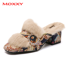 2019 New Retro Fur Mules Shoes Woman Flower Print Crystal Slippers Women Warm Furry Slides Slip On High Heel Winter Slippers retro women strappy beaded woven floral print anti slip cloth shoes woman gift