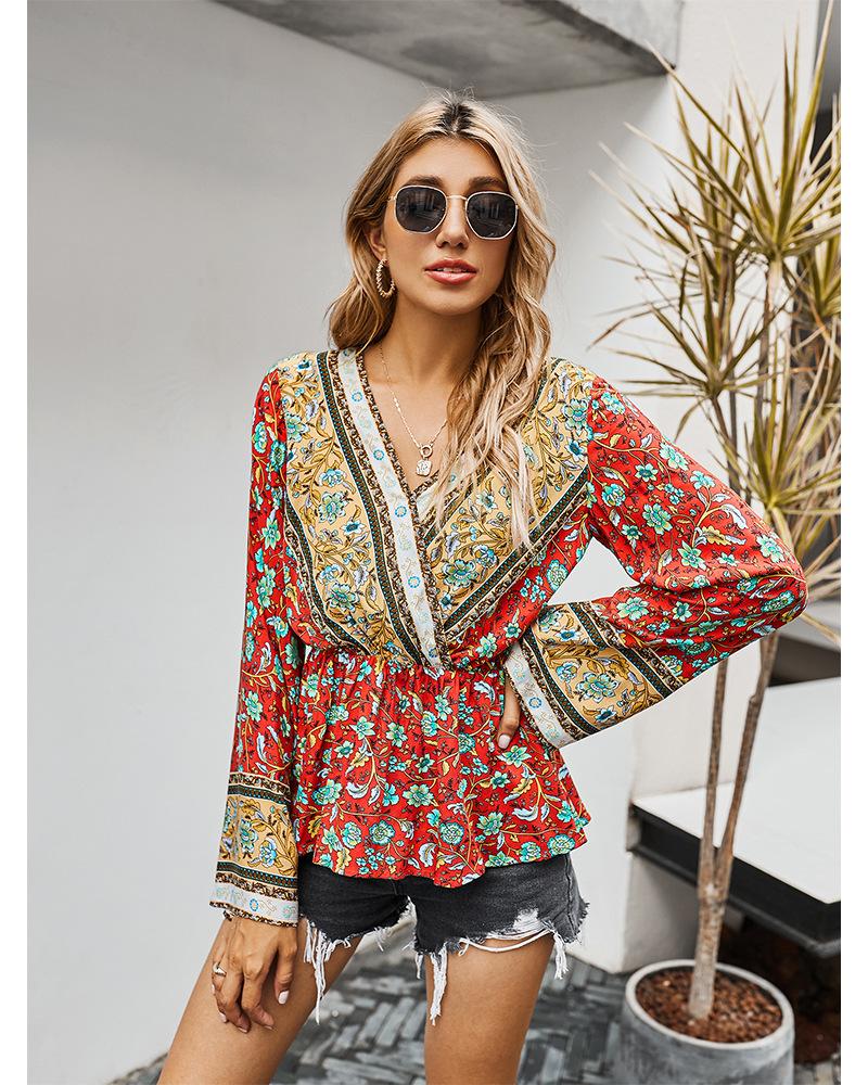 Gypsylady винтажная Цветочная Бохо блузка рубашка топ осень