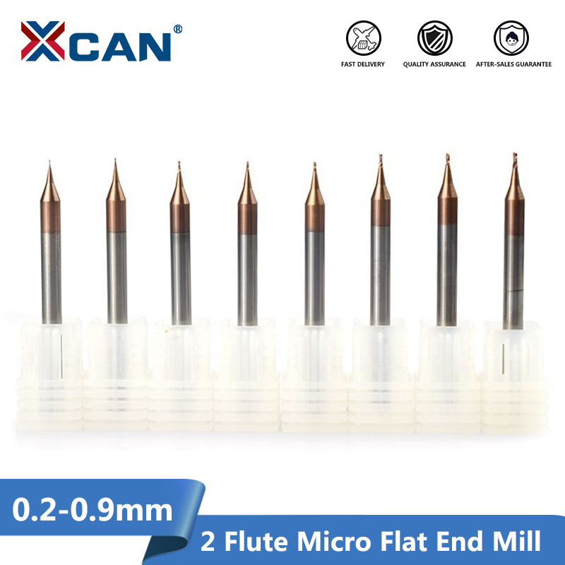 XCAN 1pc 0.2-0.9mm 2 Flute Micro Flat End Mill 4mm Shank Tungsten Carbide CNC Router Bit TiCN Coated Mini Milling Cutter