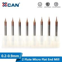 XCAN 2 Flute Micro Fresa Piatta 1pc 0.2 0.9mm 4 millimetri Gambo In Carburo di Tungsteno Router di CNC bit TiCN Rivestiti Mini Fresatura Taglierina
