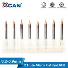 XCAN 2 flüt mikro düz uçlu mil 1 adet 0.2 0.9mm 4mm Shank Tungsten karbür CNC Router Bit TiCN kaplı Mini freze kesicisi