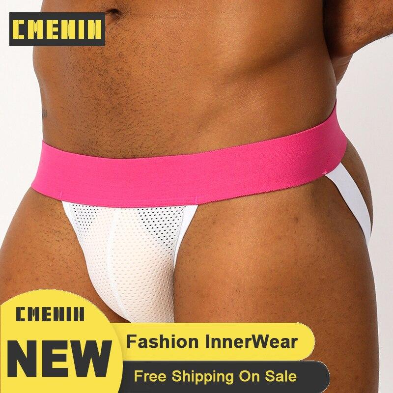 CMENIN Pink Sexy Gay Men Underwear Thongs Cotton G String Thong For Men Bikini Lingerie Mesh Transparent Sissy Panties BP.02