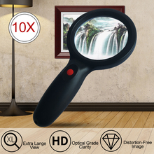 Magnifier Reading Handheld High-Definition Portable 10X with 18-Leds Premium-Quality