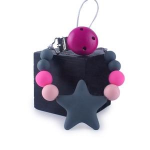 Presilha de chupeta de silicone bpa, pingente com estrela para recém-nascido, menino e menina