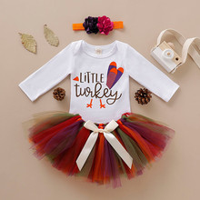 Baby Sets Newborn Infant Girl First Thanksgiving Turkey Romper Tutu Skirt Outfits Set