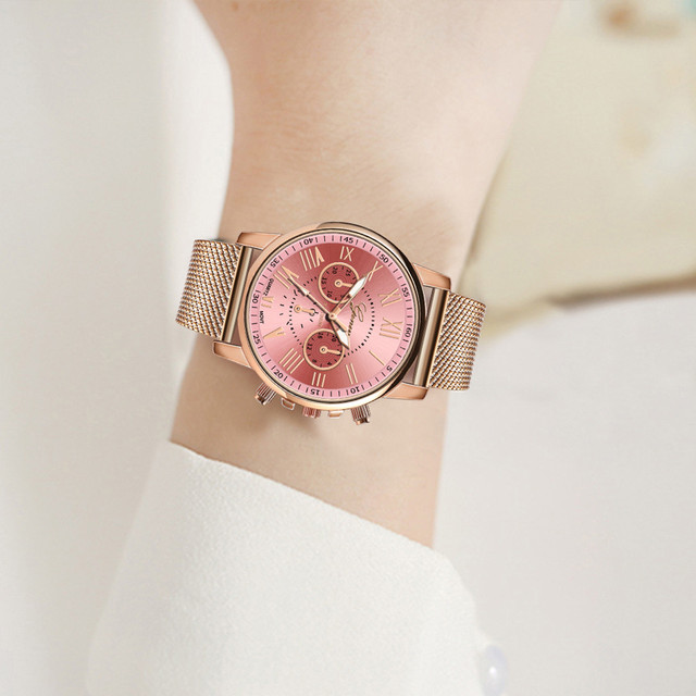 Stainless Steel Strap Watches For Women Luxury 2020 Rose Gold Dial Quartz Wrist Watch For Ladies Bracelet Reloj Mujer Relogio 3