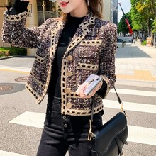 Brand Fashion Women Short Tweed Jacket Single Breasted Twill Slim Fit Office Lad