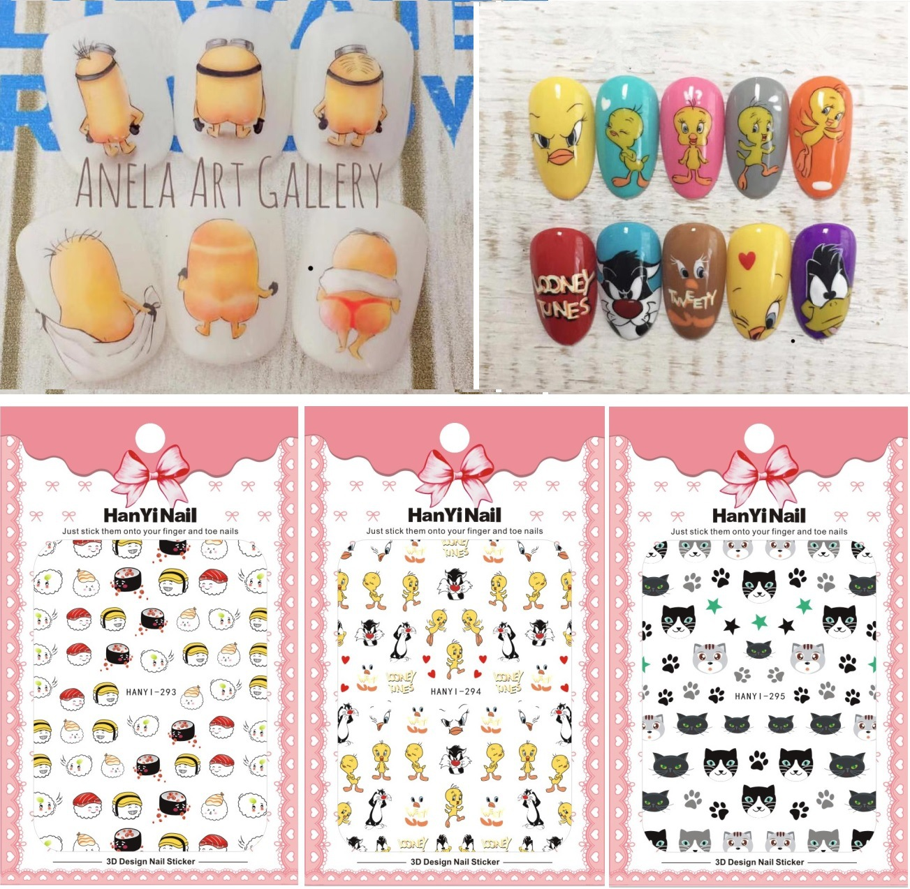 Nail Sticker Nail Decals Huang Pi Cat Star People With Gum Cartoon HANYI293-297