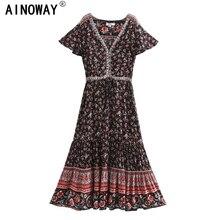 Винтажное шикарное Женское Платье макси с цветочным принтом птиц, коротким рукавом, богемное, искусственный хлопок, женское платье с глубоким V образным вырезом, богемное платье