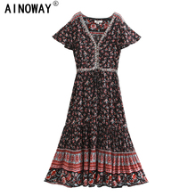 Vintage chic women birds floral print short sleeve Bohemian rayon cotton maxi dress  Ladies deep v neck botton Boho vestidos