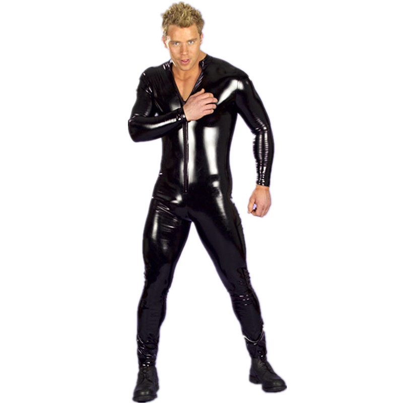 Men's Sexy Wet Look Fetish Latex DS Nightclub Catsuits Costumes Cosplay Body Suit Black Patent PU Leather Erotic Leotard Overall