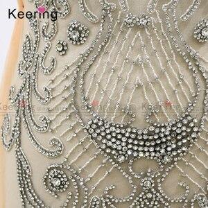 Image 5 - Apliques para corpiño de tela con diamantes de imitación plateados para celebridades en línea, para vestido de noche, panel WDP 266