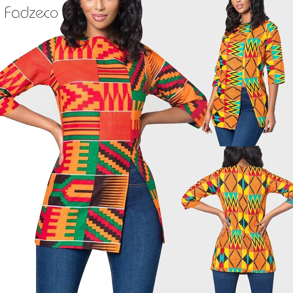 Fadzeco African Women Clothes Bazin Riche Dashiki T-Shirt Traditional Print Clothing Ankara Style Tops Fashion Blouse Tee