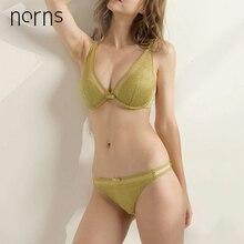 Norns seksowna koronkowa cienka biustonosz majtki komplety biustonosz damski ze stalową skąpa bielizna nowa europejska zebrana głęboka V i amerykańska High end