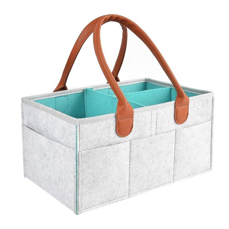 Nursery Diaper Tote Bag Baby Shower Gift Basket Boy Girl Diaper Storage Bin for Changing Table Large Portable Car Travel Organizer Baby Diaper Storage