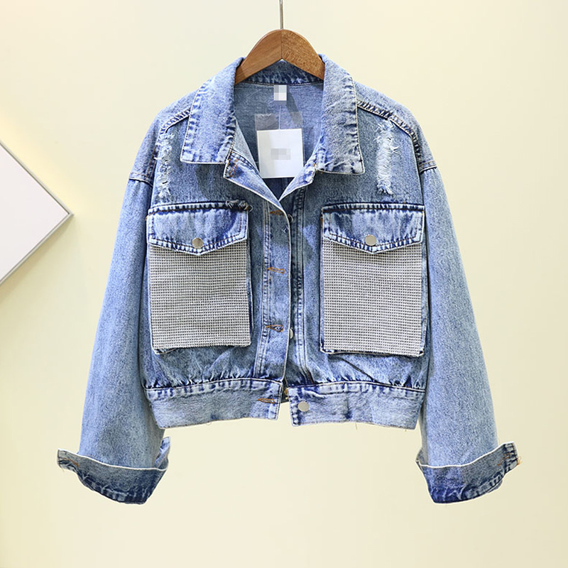 Spring Autumn New Loose Jeans Coat Lady Heavy Industry Bright Diamond Pocket Denim Jacket Women's Fashion Short Jean Jackets