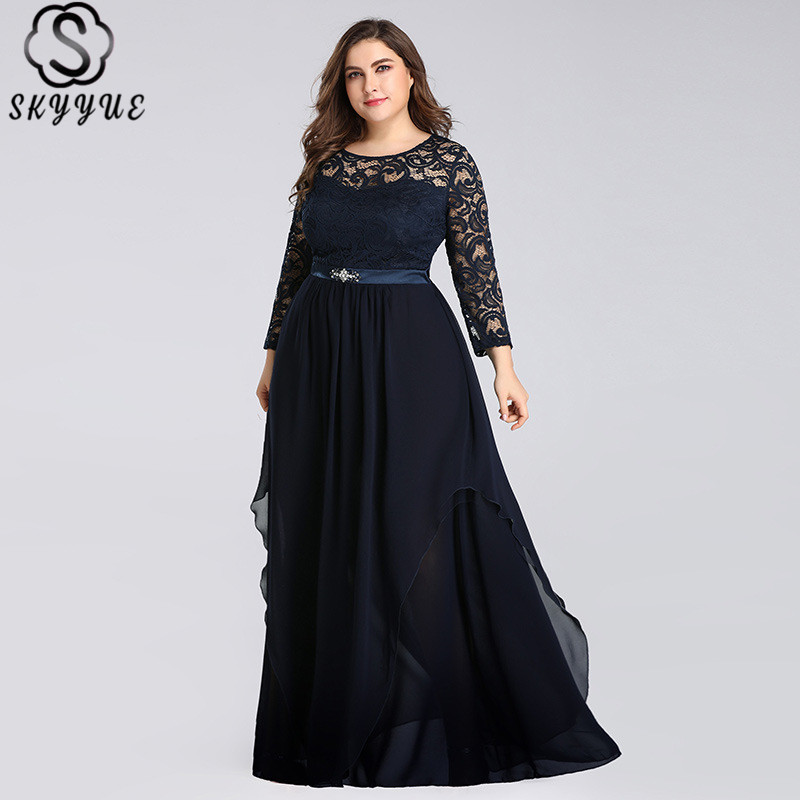 Skyyue Crystal O-Neck Evening Dresses Full Sleeve Solid Lace Robe De Soiree Formal Gown 2019 Plus Size Women Party Dresses C543