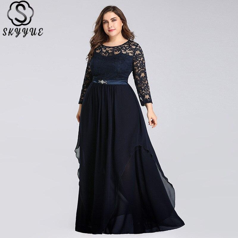 Skyyue cristal o-cou robes De soirée à manches longues solide dentelle Robe De soirée Robe formelle 2019 grande taille femmes robes De soirée C543